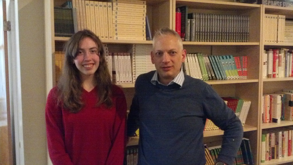 The Experiment's publisher (and Swarthmore alum) Matthew Lore with Swarthmore extern Annie Tvetenstrand