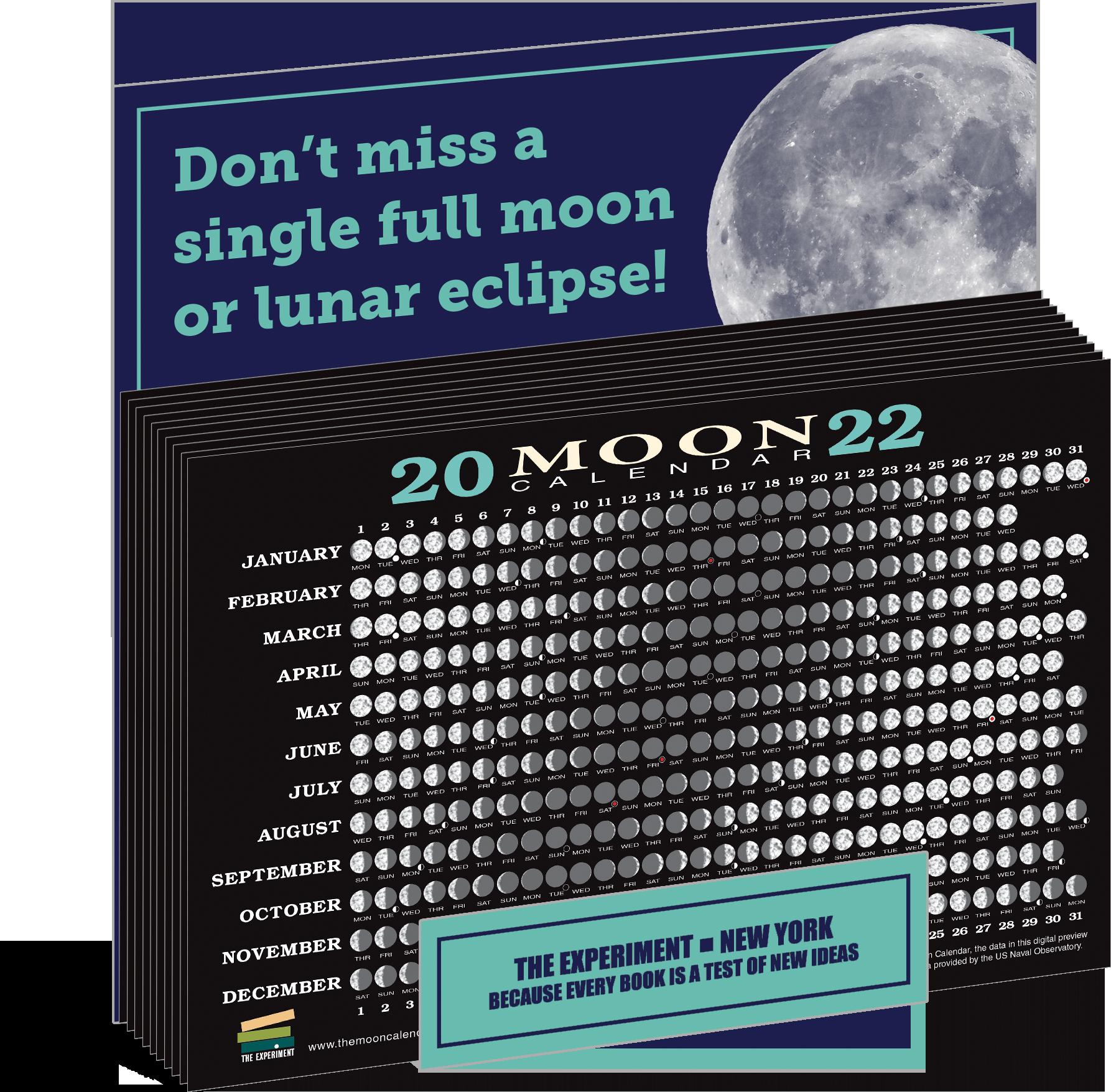 Celestial Calendar 2022.2022 Moon Calendar Card 5 Pack The Experiment