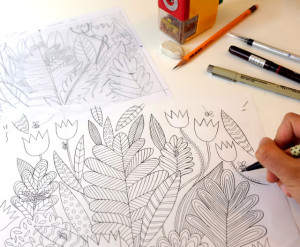 Emma-Farrarons-Mindfulness-Coloring-Book-sketching