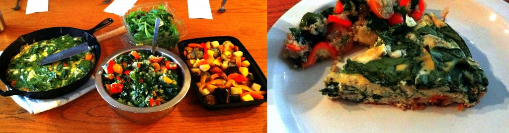 From left: Sweet Potato, Blue Cheese, and Spinach Frittata, Quinoa and Vegetable Salad, and Roasted Vegetable Salad
