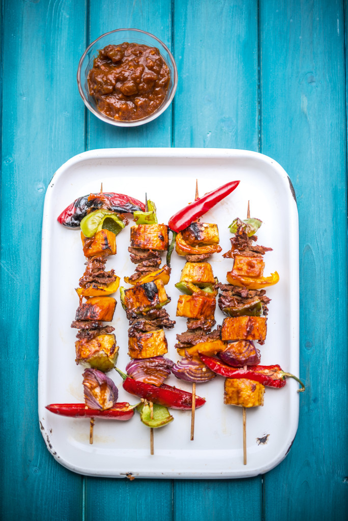 Seitan & Sweet Potato Kebabs with Mango Barbecue Sauce